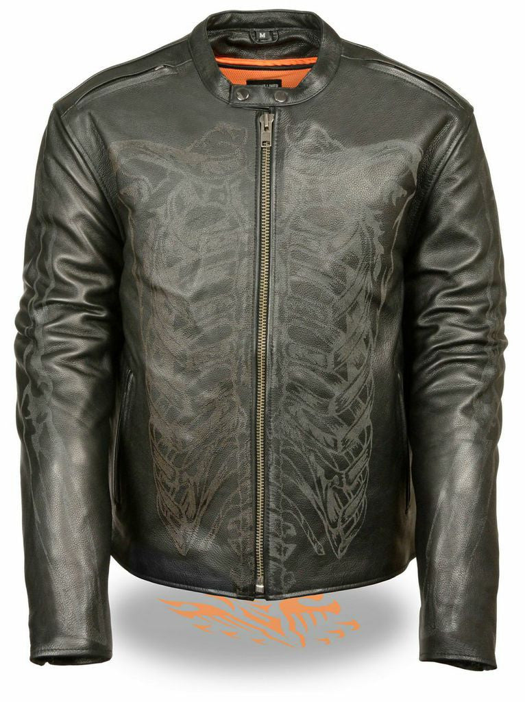 MEN'S LEATHER JACKET REFLECTIVE SKELETON BONES