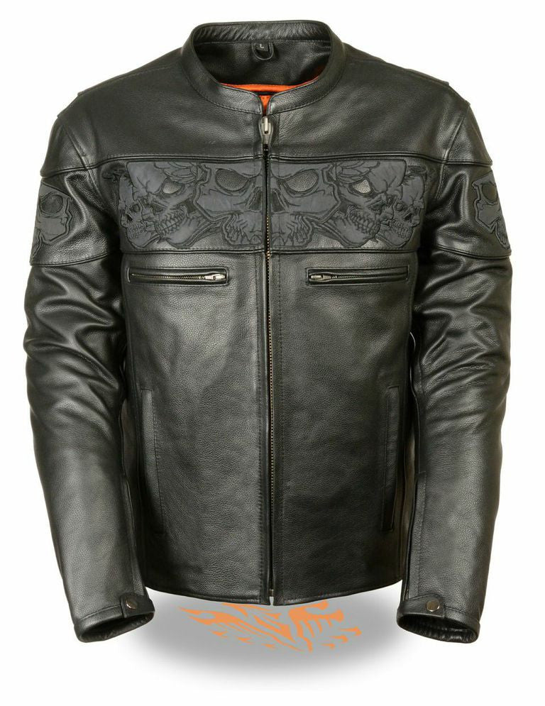 MEN'S SOFT LEATHER JACKET REFLECTIVE SKULLS CROSSOVER