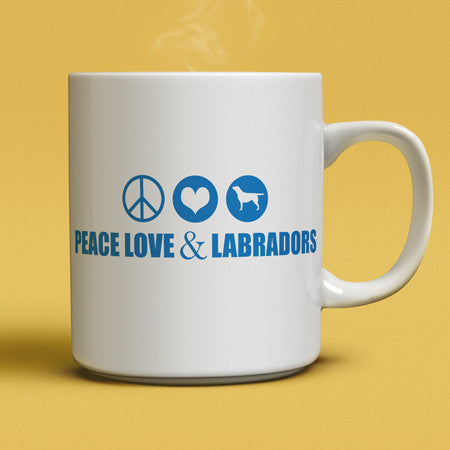 Peace, Love and Labradors coffee mug