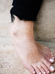 MAY MARTIN <br> Double Strand Link Chain Anklet - The Shop Laguna Beach