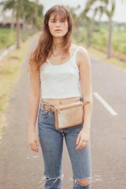 SAUDARA THE LABEL Franny Belted Cowhide Fanny Pack Cream
