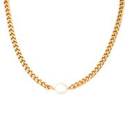 MAY MARTIN <br> Georgie Gold-Dipped Chain/Pearl Necklace - The Shop Laguna Beach