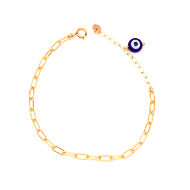 MAY MARTIN <BR> Evil Eye & Coin Link Chain Bracelet