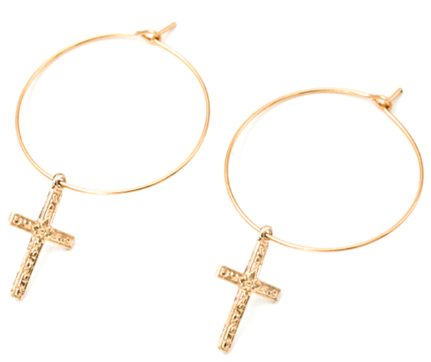 MAY MARTIN <br> Cross Hoop Earrings - The Shop Laguna Beach
