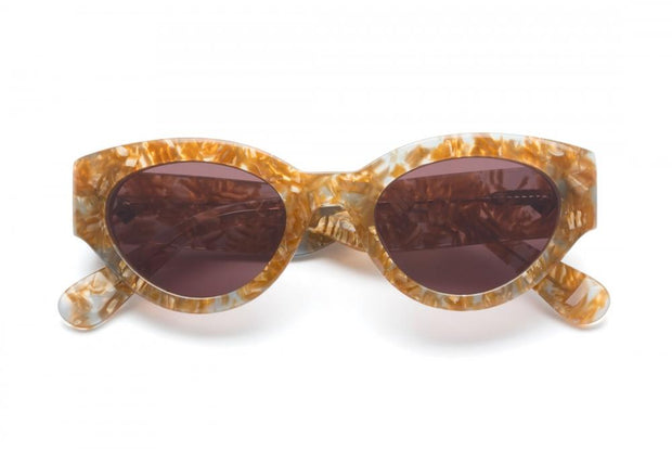 WONDERLAND SUN Bombay Beach Sunglasses Light Blue Gold Flake