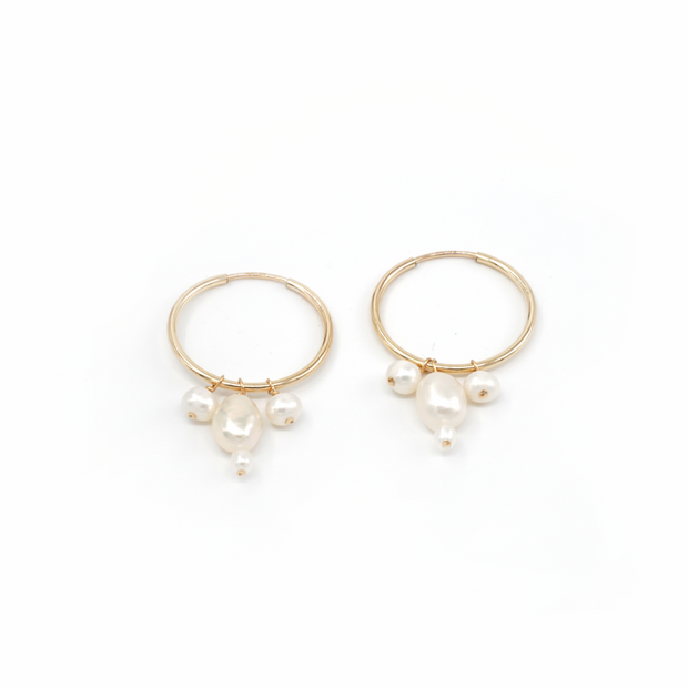 MAY MARTIN <br> Angelina Pearl Hoops-The Shop Laguna Beach
