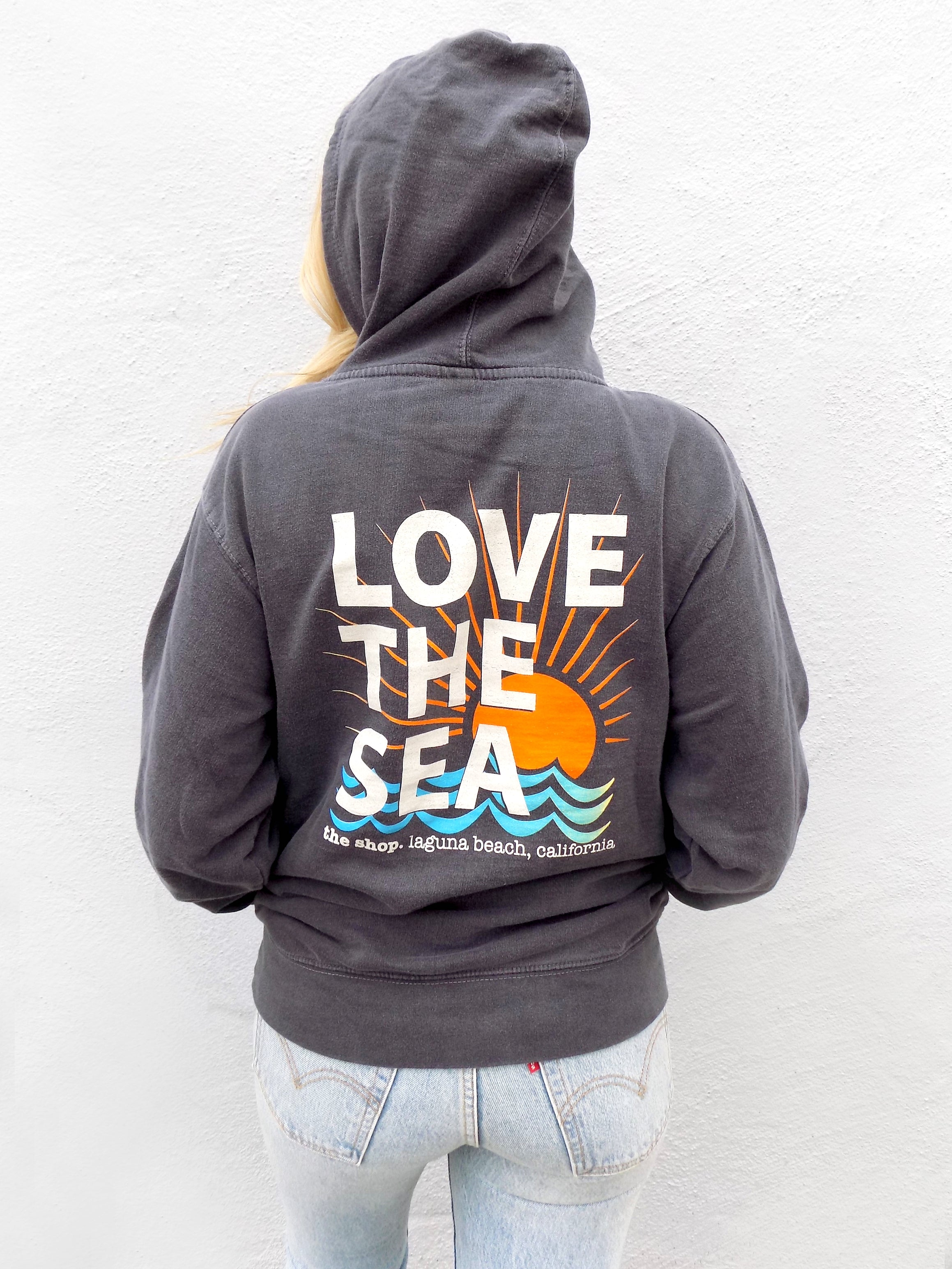 LOVE THE SEA<BR>Bomber Pullover Hoodie