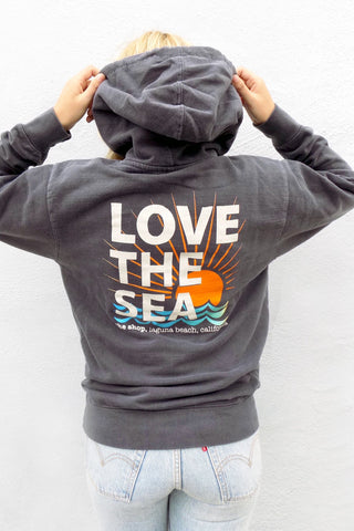 LOVE THE SEA<BR>70's Terry Zip-Up Hoodie
