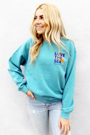 THE SHOP LAGUNA • LOVE THE SEA Bomber Crew Pullover Turquoise