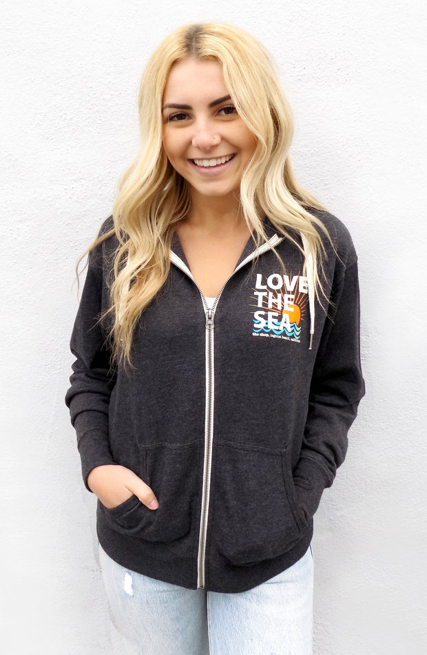 LOVE THE SEA <BR> Terry Zip-Up Hoodie <br><small><i> (More Colors Available) </i></small> - The Shop Laguna Beach