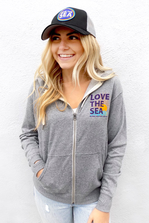 LOVE THE SEA<BR>Classic Terry Zip-Up Hoodie<br><small><i>(More Colors Available)</i></small>