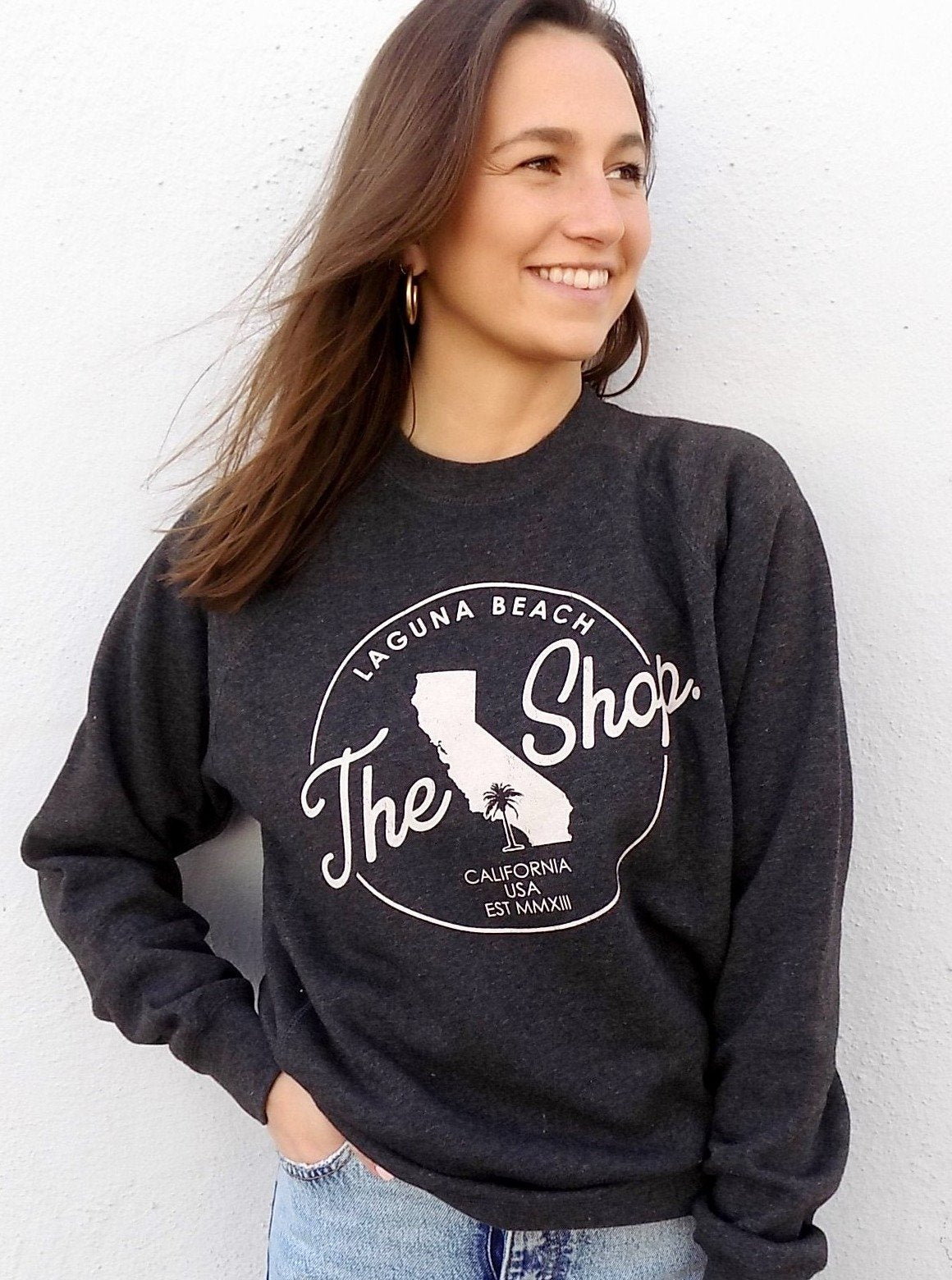 THE SHOP LAGUNA BEACH CLASSIC Cali Pullover Crew Neck Fleece Sweatshirt Carbon