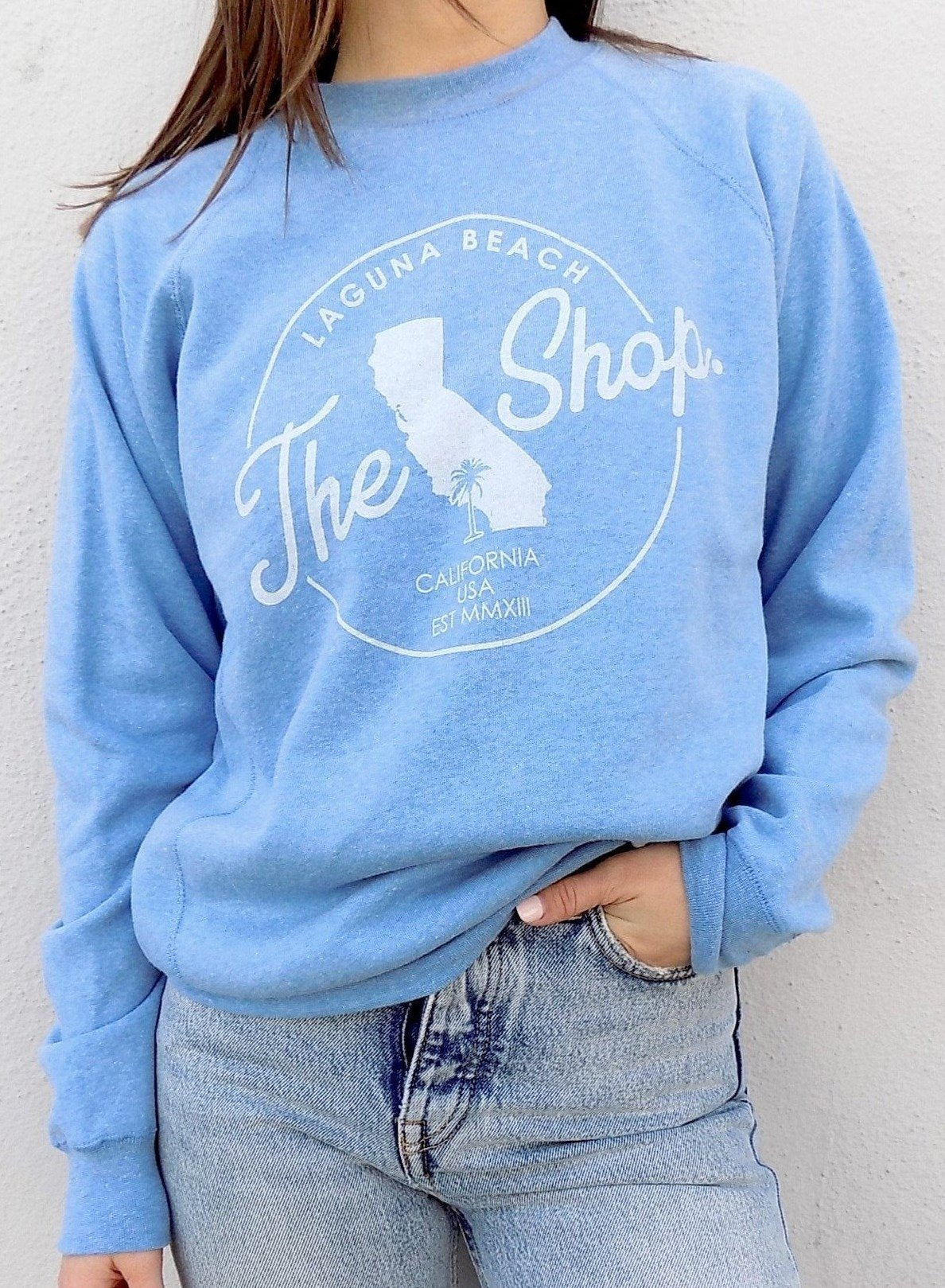THE SHOP LAGUNA BEACH CLASSIC Cali Pullover Crew Neck Fleece Sweatshirt Pacific