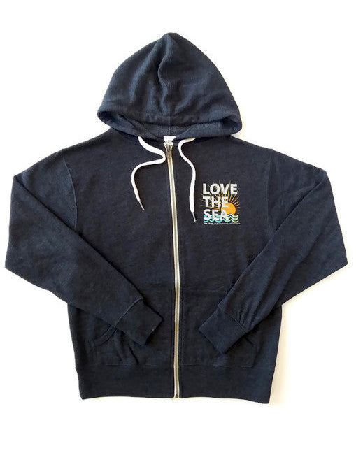 LOVE THE SEA<BR>Terry Zip-Up Classic Hoodie