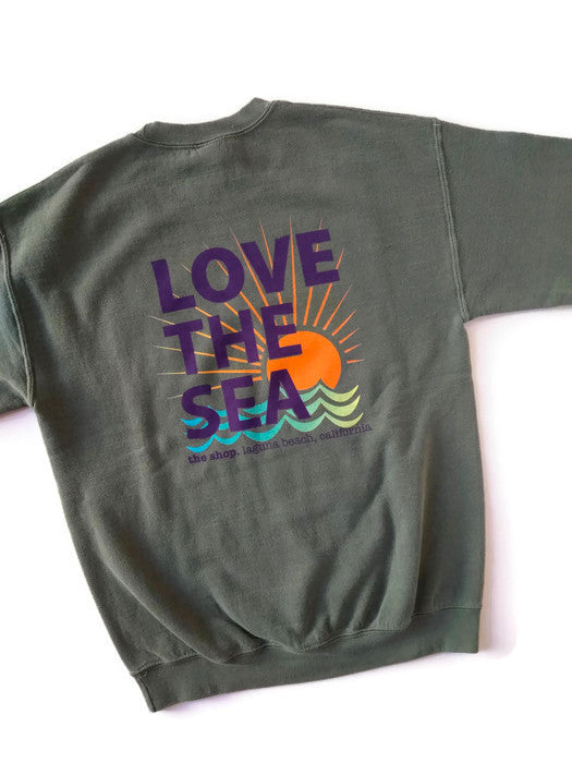 THE SHOP LAGUNA • LOVE THE SEA Bomber Crew Pullover Olive