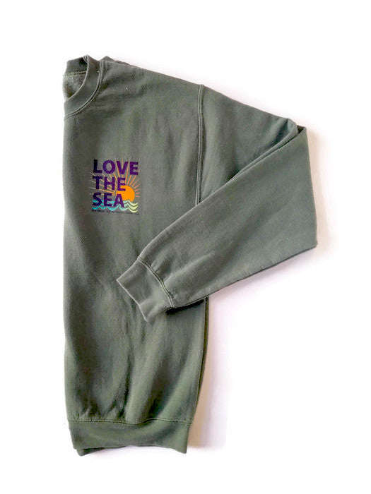 LOVE THE SEA<BR>Classic Bomber Crew Pullover<br><small><i>(More Colors Available)</i></small>