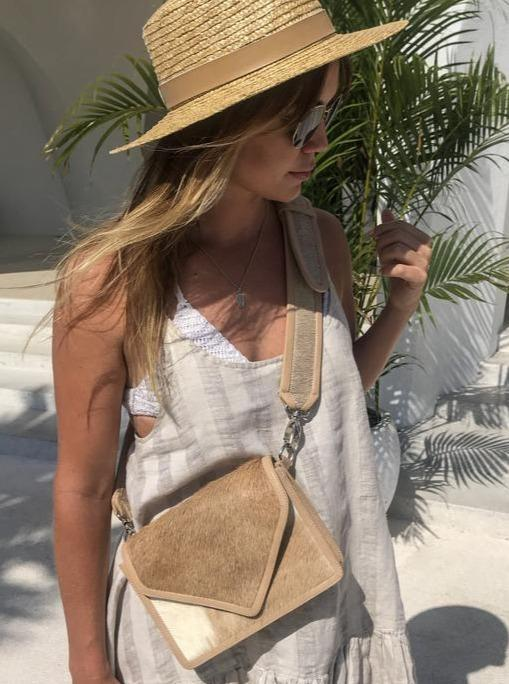 SAUDARA THE LABEL <BR> Hannah Crossbody Cowhide Envelope Purse - The Shop Laguna Beach