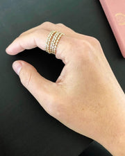 MAY MARTIN <BR> CZ Gold Plated Stacking Ring - The Shop Laguna Beach