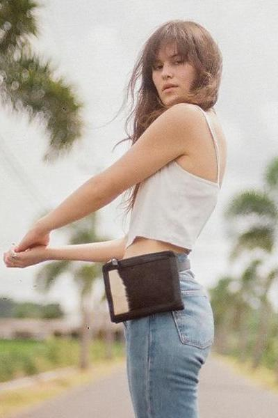 SAUDARA THE LABEL Franny Belted Cowhide Fanny Pack Black & White