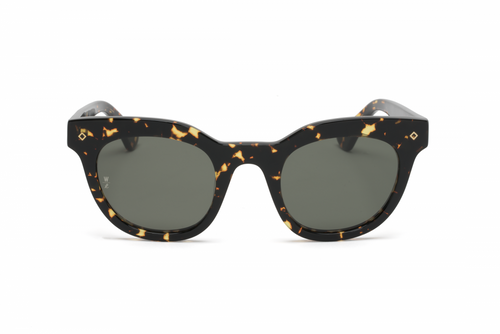 WONDERLAND SUN Perris Sunglasses Yellow Tortoise/Green CZ