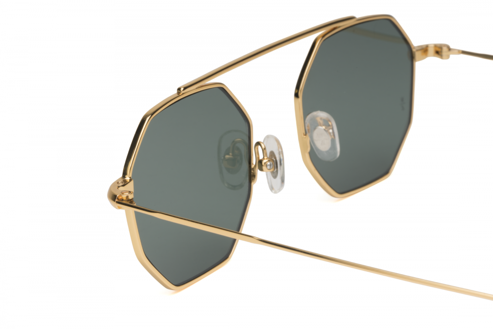 WONDERLAND SUN Rim of the World Sunglasses Gold Metal/Green CZ
