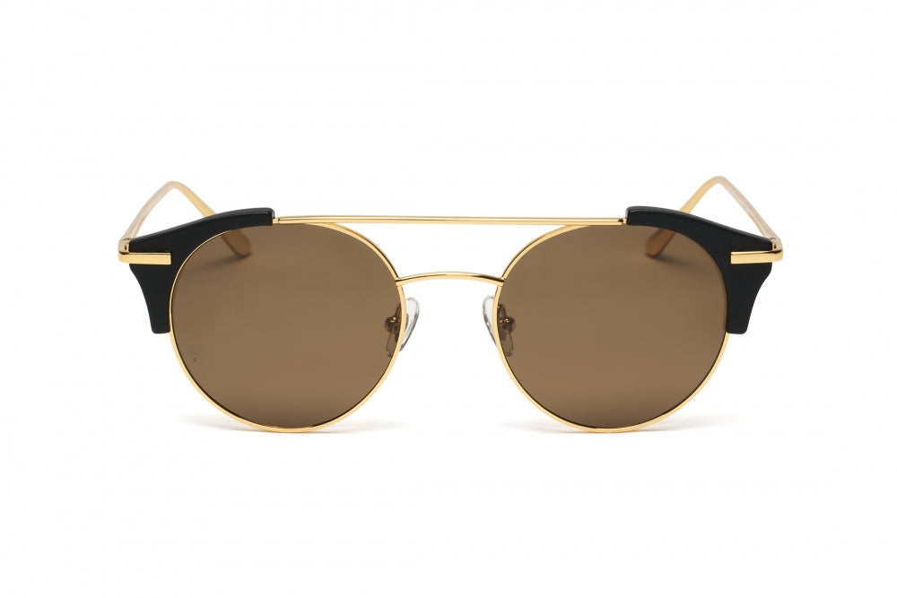 WONDERLAND SUN RIALTO SUNGLASSES MATTE BLACK GOLD METAL