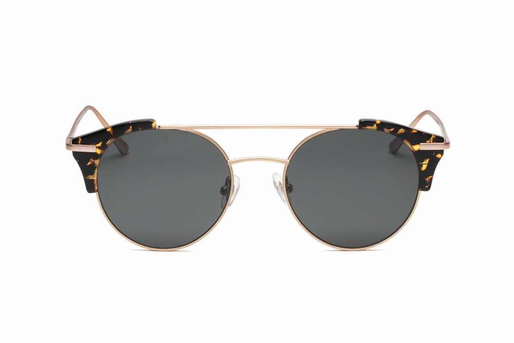 WONDERLAND SUN Rialto Sunglasses Yellow Tortoise Rose Gold Metal