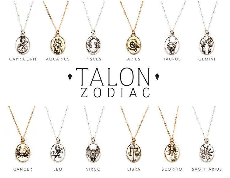 TALON NYC<BR>14kt Gold-Plated Pendant Zodiac Necklace