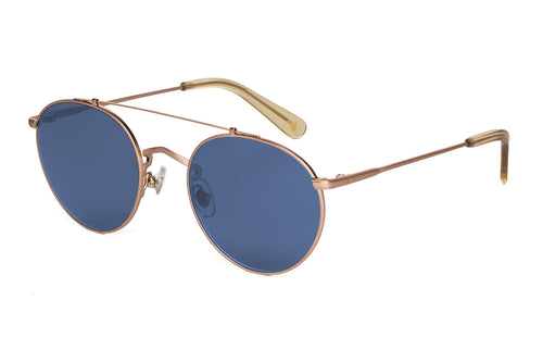 WONDERLAND SUN Indio Sunglasses Antique Rose Gold Dark Blue CZ