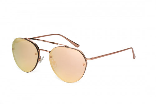 WONDERLAND SUN Victorville Sunglasses Rose Gold Metal/Rose Gold Mirror CZ