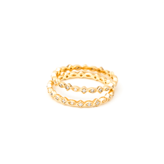 MAY MARTIN <BR> CZ Gold-Plated Stacking Ring - The Shop Laguna Beach