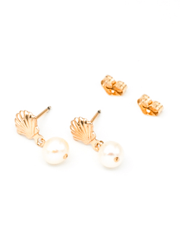 MAY MARTIN <br> Shell with Pearl Stud Earrings - The Shop Laguna Beach