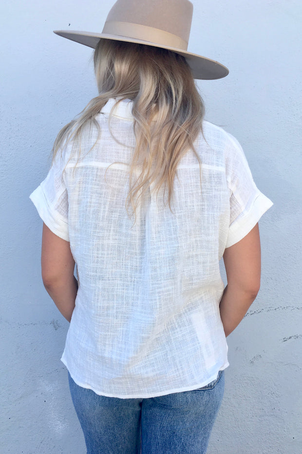 KEEN THE LABEL X THE SHOP LAGUNA BEACH Cleo Cotton Button-Up Shirt White