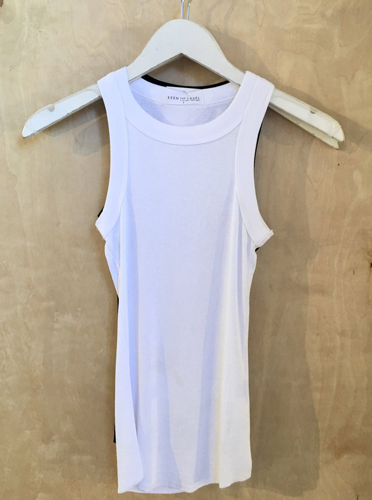 KEEN THE LABEL <BR> Ribbed Knit High Neck Slim Tank - The Shop Laguna Beach