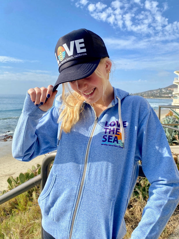 LOVE THE SEA <BR> French Terry Zip-Up Hoodie <br><small><i> (More Colors Available) </i></small>-The Shop Laguna Beach