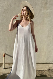 KEEN THE LABEL X THE SHOP LAGUNA Constance Maxi Tank Sundress White