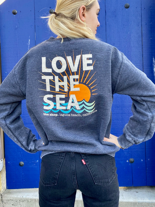 LOVE THE SEA <br> Bomber Crew Pullover <br><small><i> (More Colors Available) </i></small>-The Shop Laguna Beach