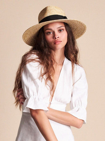 LACK OF COLOR<BR>Aruba Fray Straw Boater Hat