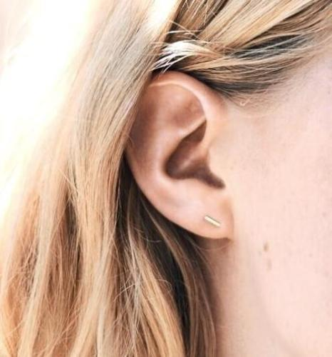 MAY MARTIN <BR> 14KT Gold Staple Earrings - The Shop Laguna Beach