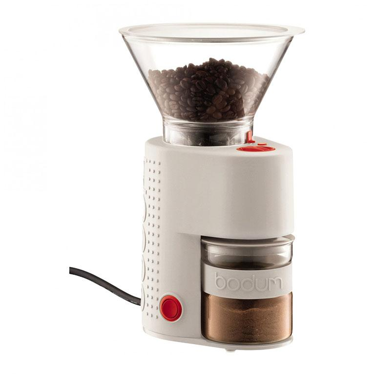 Bistro Grinder Pre-Set Timer Adjustable Grind in White