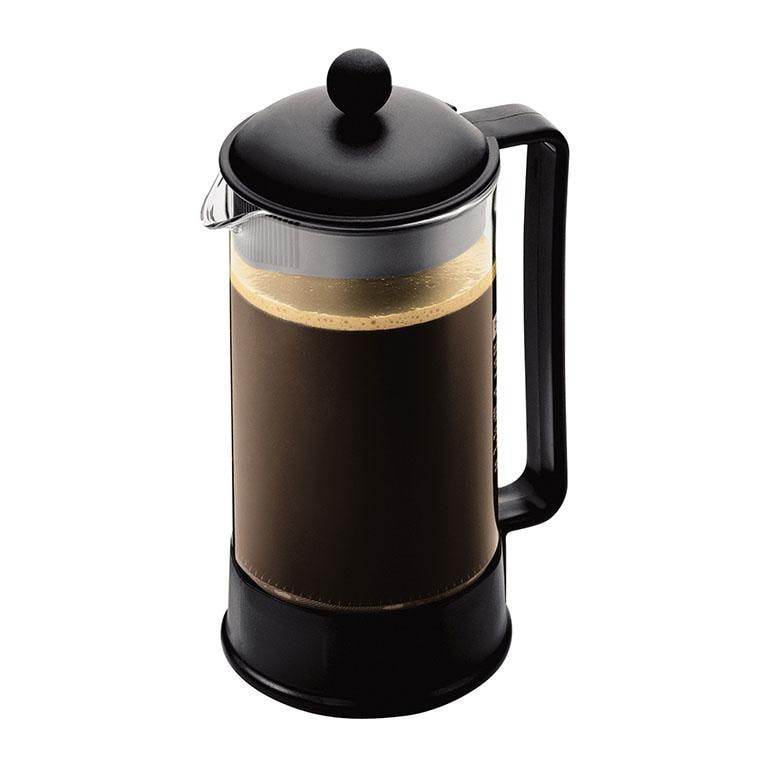 BRAZIL French Press w/Shatterproof Plastic Beaker, Black 8 cup, 1.0 l, 34 oz