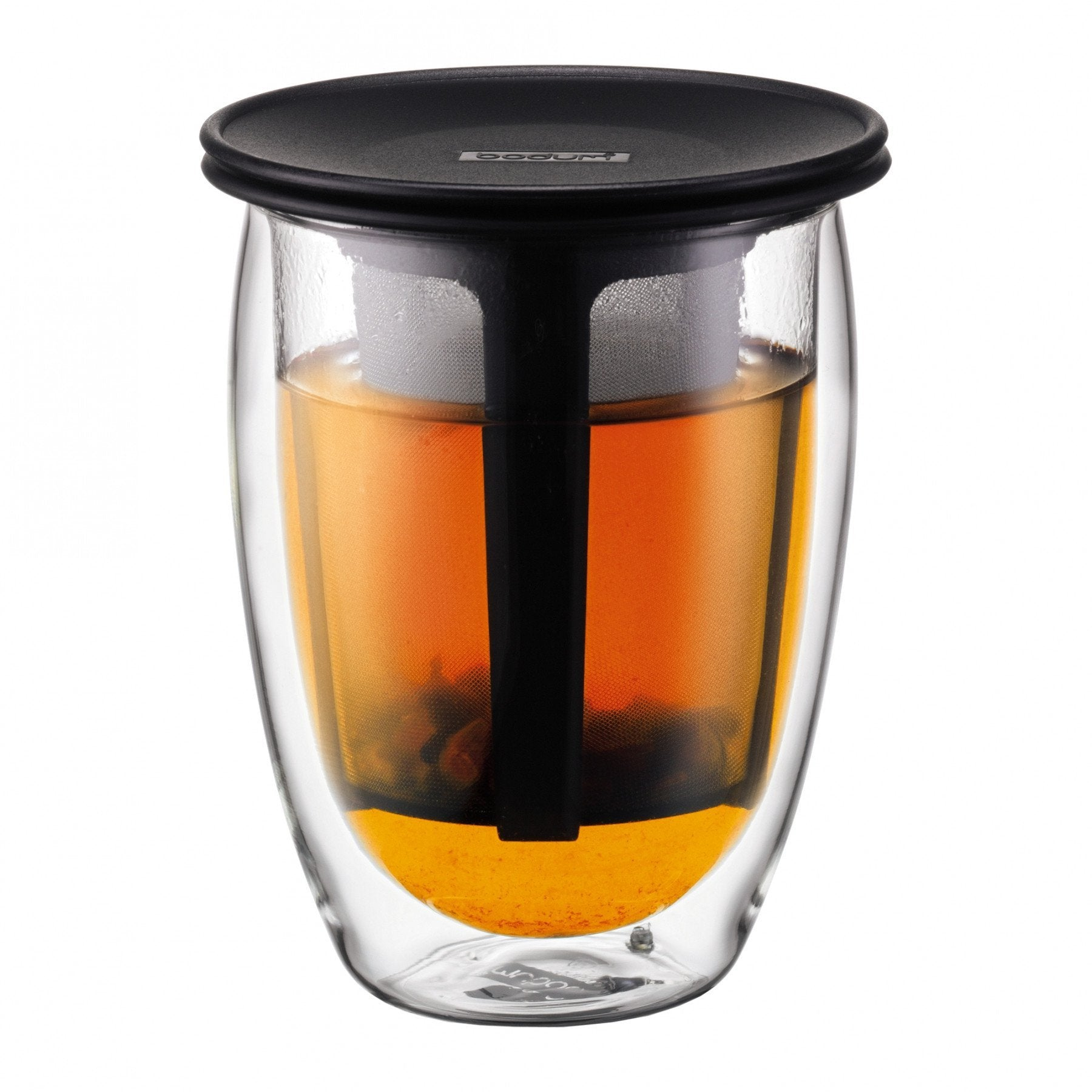 TEA FOR ONE  Glass, double wall, 0.35 l, 12 oz and tea strainer in Black