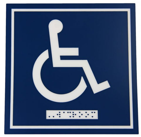 964 – WHEELCHAIR SYMBOL WITH BRAILLE EMBOSS - National Washroom Supply