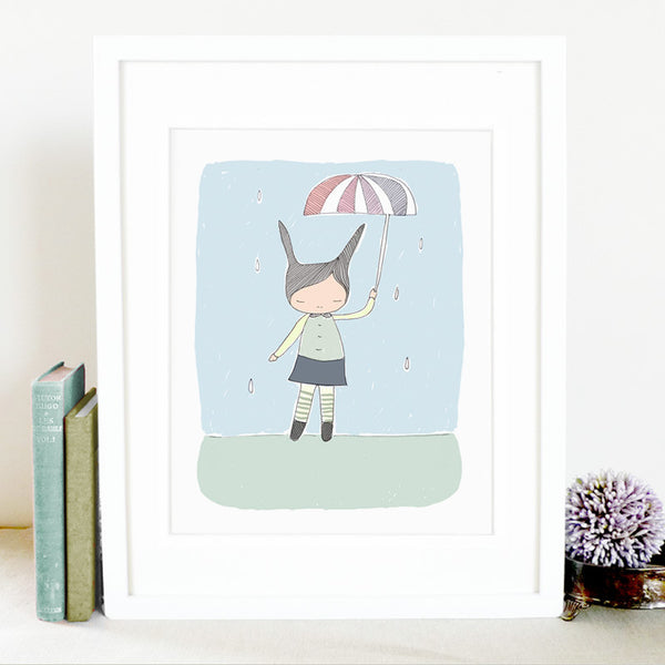 honeycup bunny and blue art print