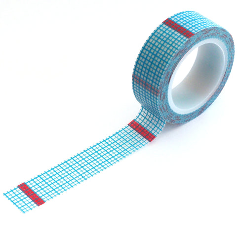 washi tape - blue grid red stripe