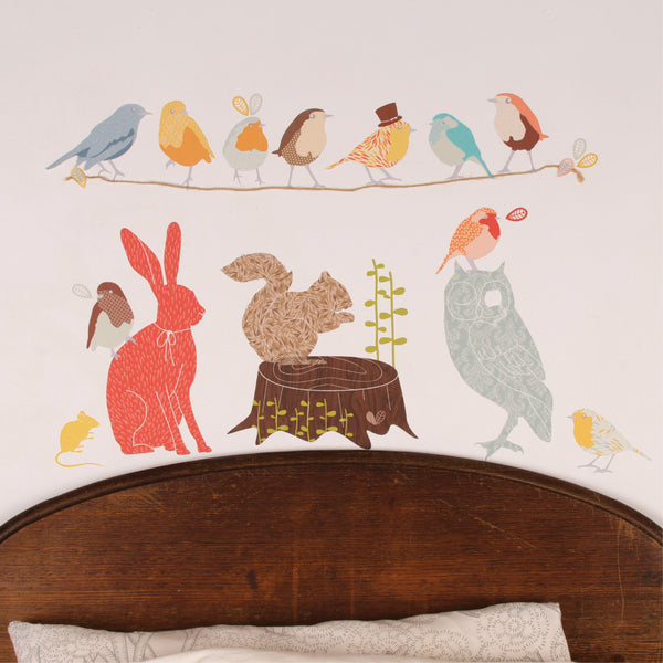 forest critters retro fabric wall decal