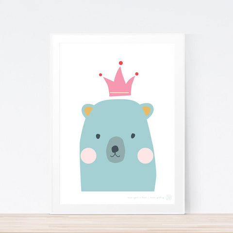 'Once Upon A Bear' (green) art print