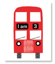 'I am 5' bus birthday card