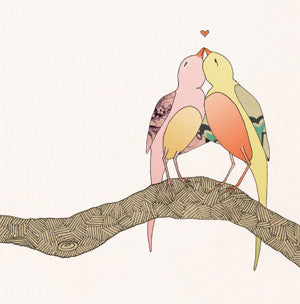 'love birds' mini card