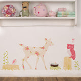 oh deer girly fabric wall decal